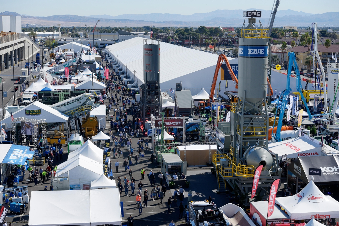 Exhibits fill the Bronze Lot during the first day of the 2017 CONEXPO-CON/AGG convention Tuesday, March 7, 2017, at the Las Vegas Convention Center. [Sam Morris/Las Vegas News Bureau]