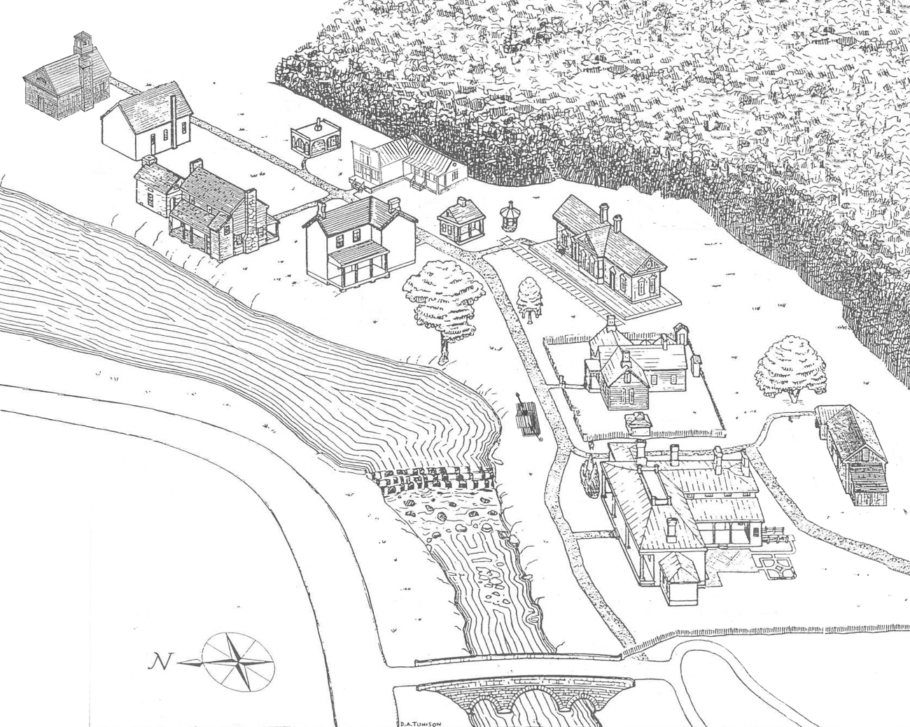 An illustrated map of the village from above shows the entirety of the museum and all of its structures. / Original drawing by D.A. Tunison with additions by Dennis Jones // Published: 12.5.19