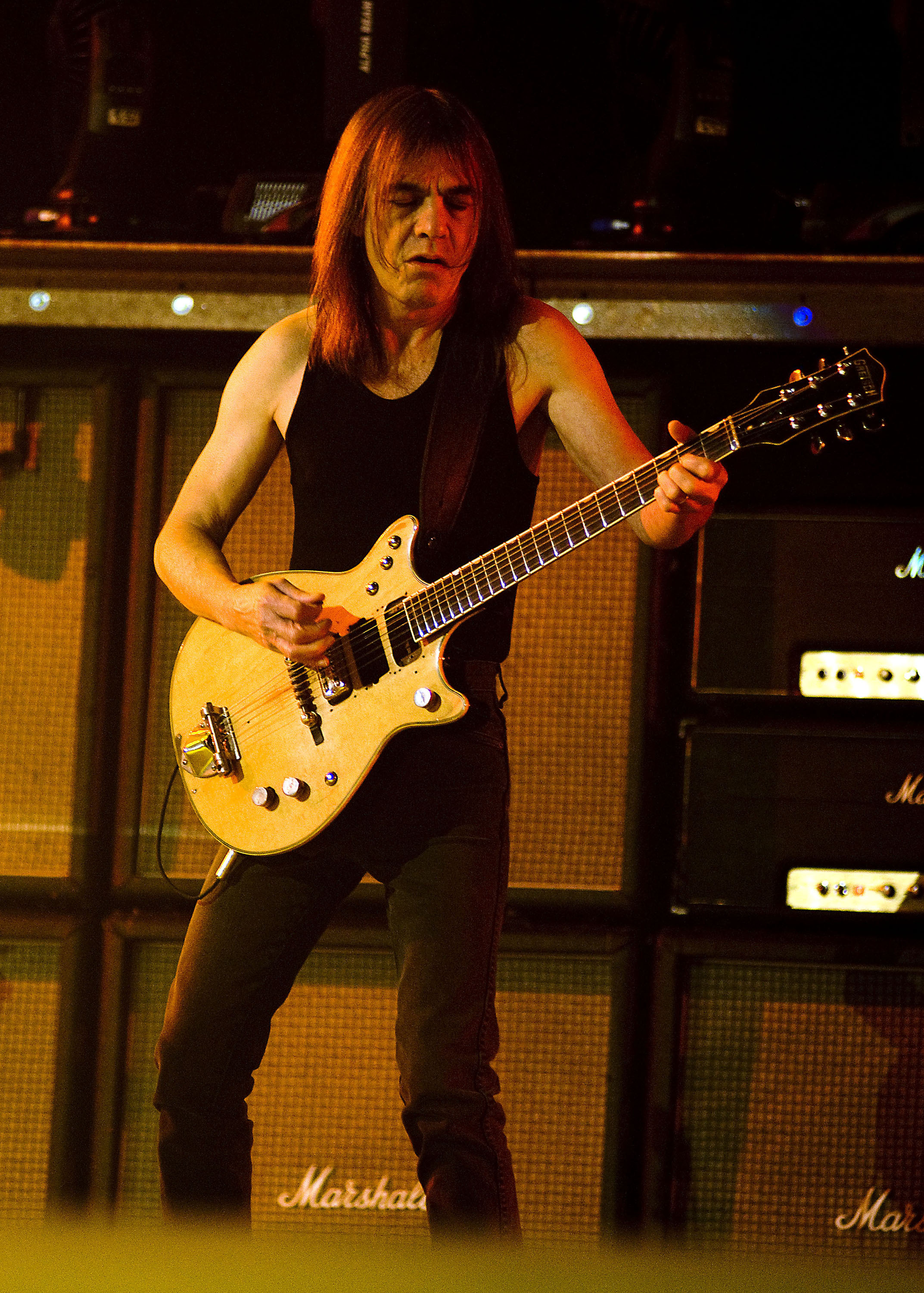 Malcolm Young of AC/DC performing live during their Black Ice World Tour Chicago, Illinois - 30.10.08  Featuring: Malcolm Young of AC/DC Where: IL, United States When: 30 Oct 2008 Credit: WENN