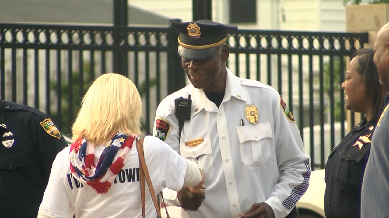 Jacksonville Police Officer X.Y. Brown is 90 and on Monday, a dedication ceremony was held for him.  (Merrilee Moore, NewsChannel 12 photo)