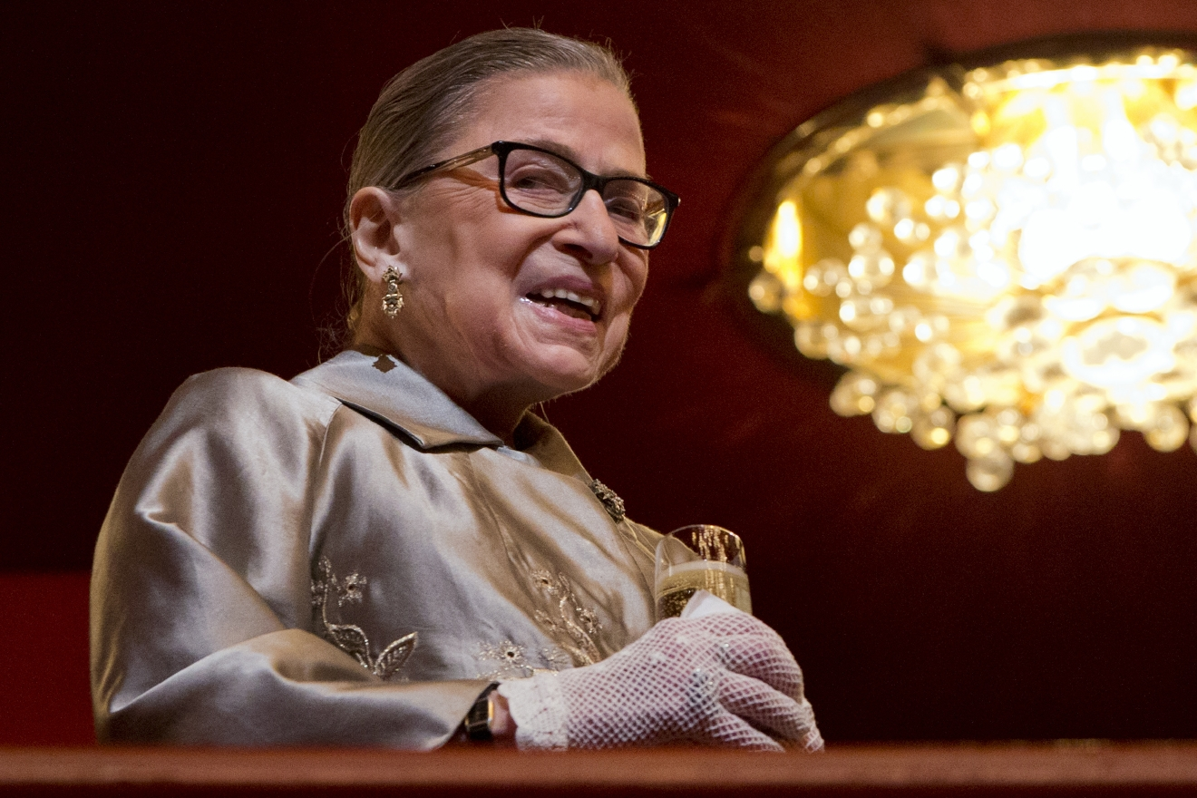 Supreme Court Justice Ruth Bader Ginsburg attends the 2015 Kennedy Center Honors in Washington, as the President and first lady arrive, Sunday, Dec. 6, 2015. (AP Photo/Jacquelyn Martin)