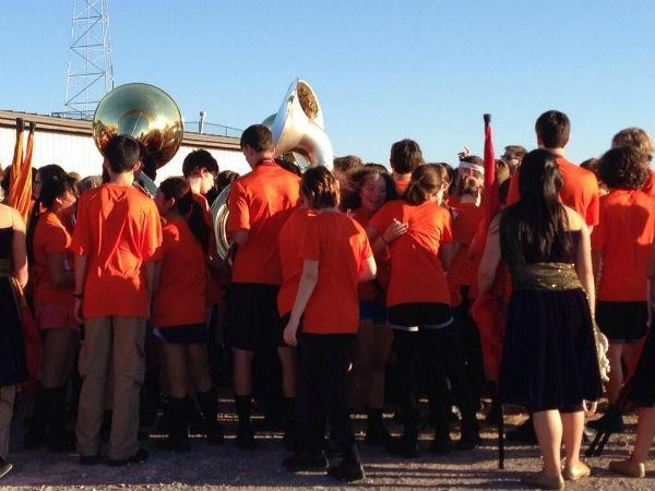 The Norman High School Band after their performance at the competition.