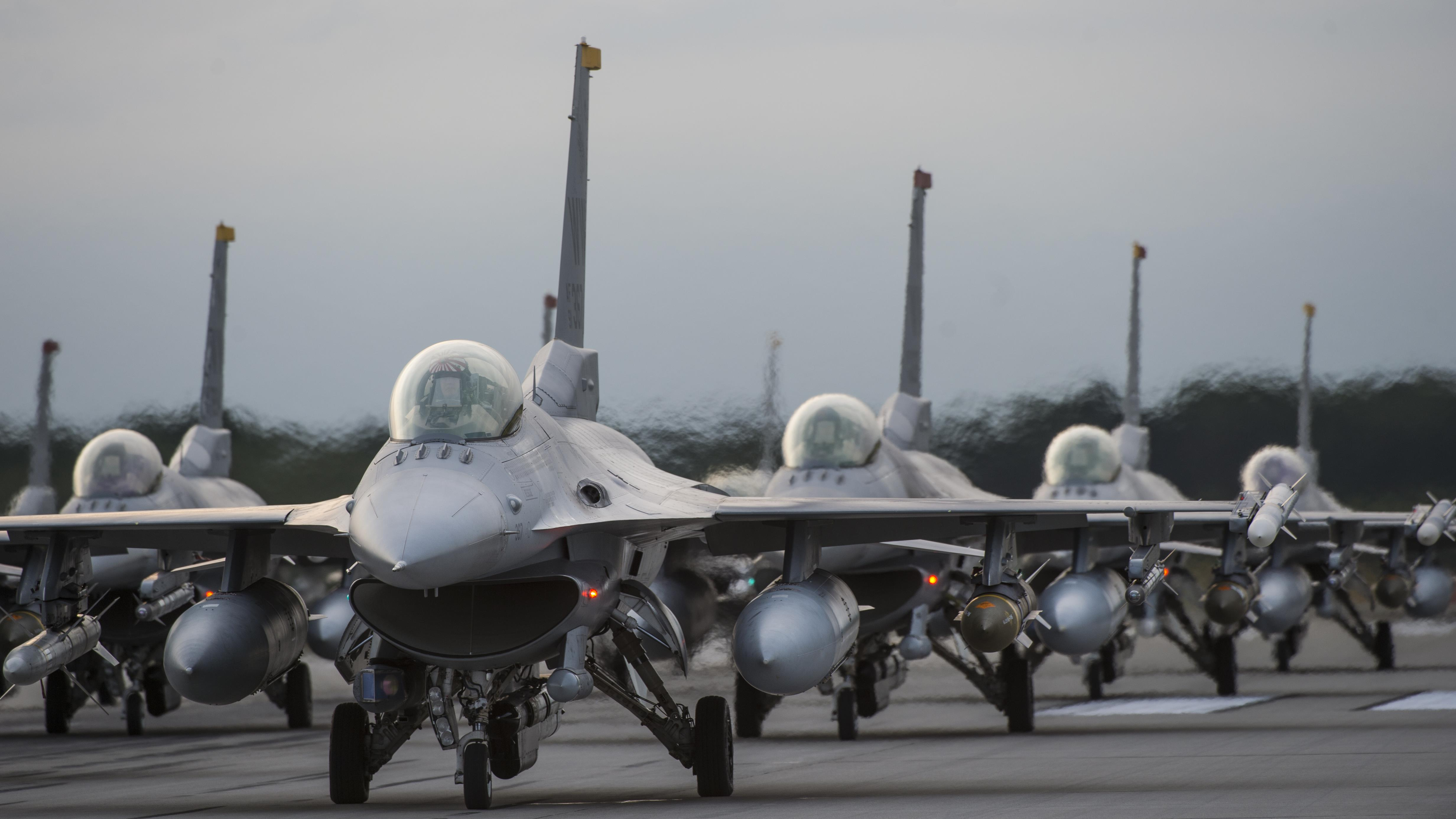 U.S. Air Force F-16 Fighting Falcons from the 13th and 14th Fighter Squadrons, take part in an elephant walk in support of exercise Beverly Sunrise 17-07 at Misawa Air Base, Japan, Sept. 16, 2017. The exercise was a simulated deployment to test the readiness of the 35th Fighter Wing, and assessed their ability to meet deployment and wartime requirements. (U.S. Air Force photo by Staff Sgt. Deana Heitzman)
