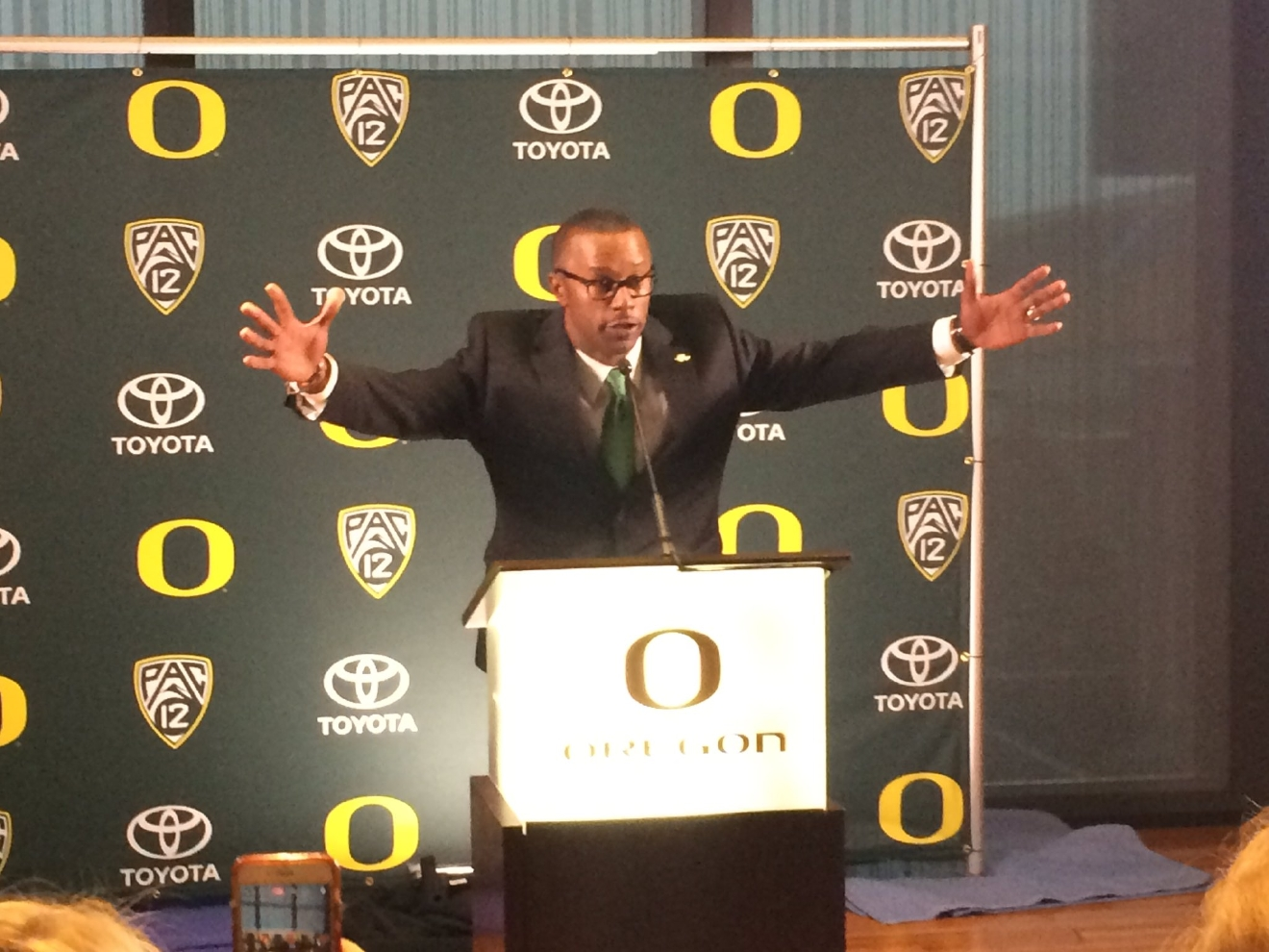 Willie Taggart, the new Oregon head football coach, at a press conference Thursday, December 8, 2016. (Hayden Herrera/SBG)