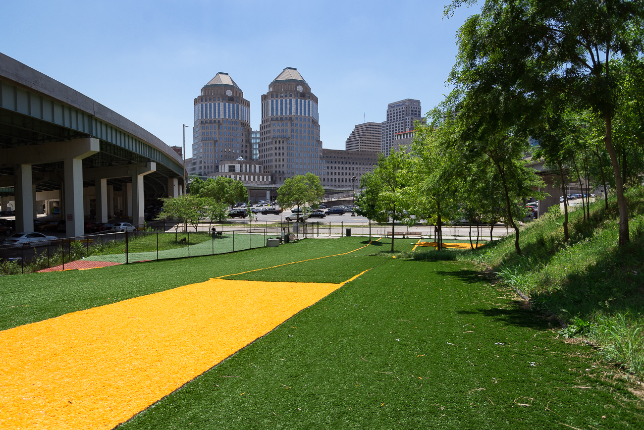 Fido Field is a 28,000-square-foot, free, astroturfed, off-leash dog recreation area run entirely by volunteers on Eggleston Avenue in Downtown Cincinnati. It is split into two sections: a large area and a smaller area. Entrances to the space are on Eggleston and Court Street. ADDRESS: 630 Eggleston Avenue (45202) / Image: Phil Armstrong, Cincinnati Refined // Published: 5.29.18